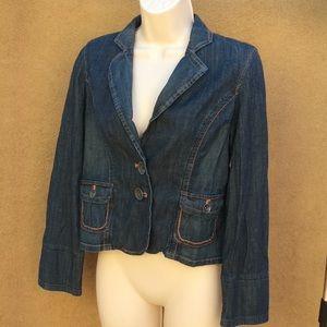 Nine & Co denim jean jacket blazer sz 6 stretch